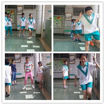 (图一:学生们在玩跳格子游戏)